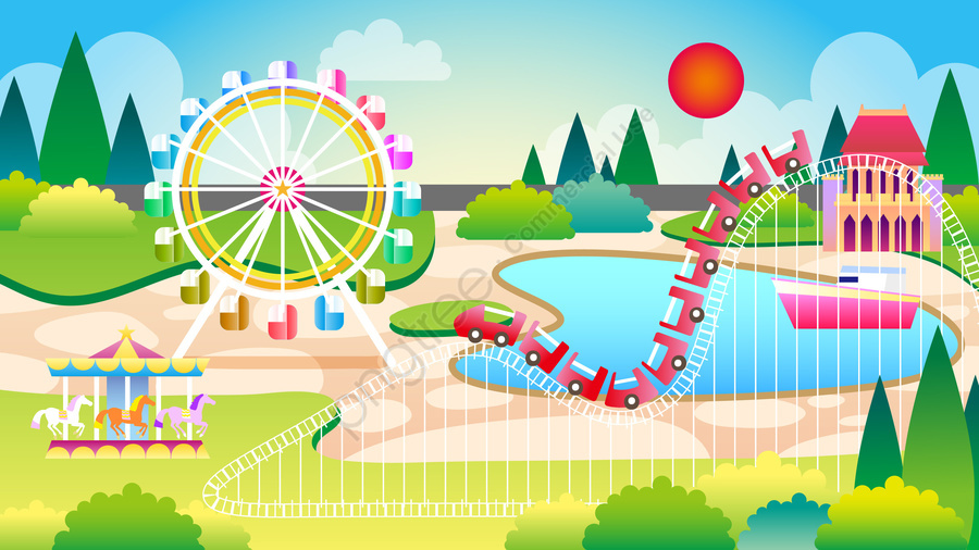 amusement park play theme background, 遊園地のテーマの背景イラスト, 遊園地, 遊ぶ llustration image