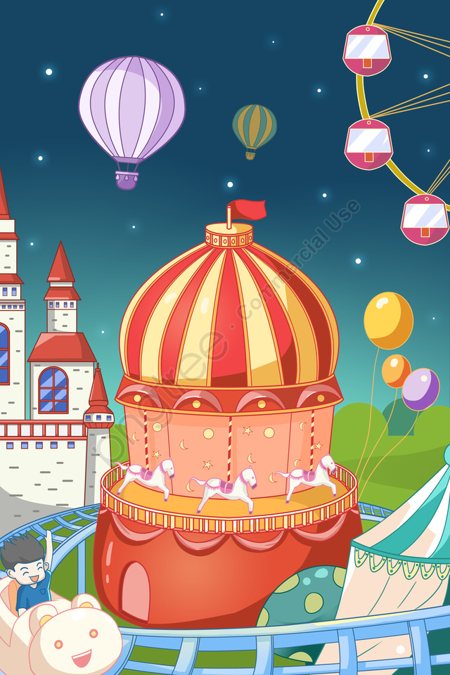 Amusement Park Roller Coaster Ferris Wheel Castle, Hot Air Balloon, Circus, Joy llustration image