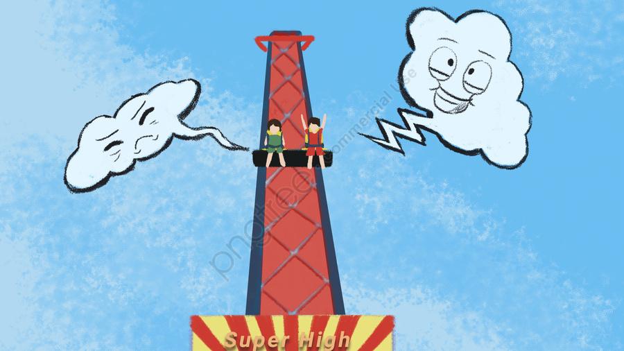 遊園地は遊びエレベーターを刺激する, ハッピー, 二人, 怖がった llustration image
