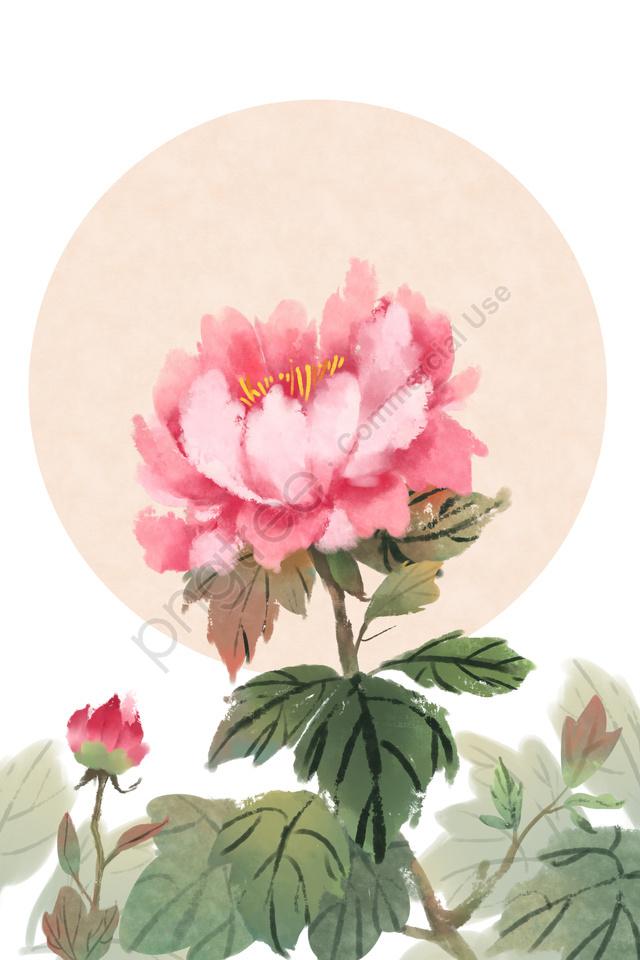 古代の花の絵画中国風の古代の古典, エレガント, 牡丹, 植物 llustration image