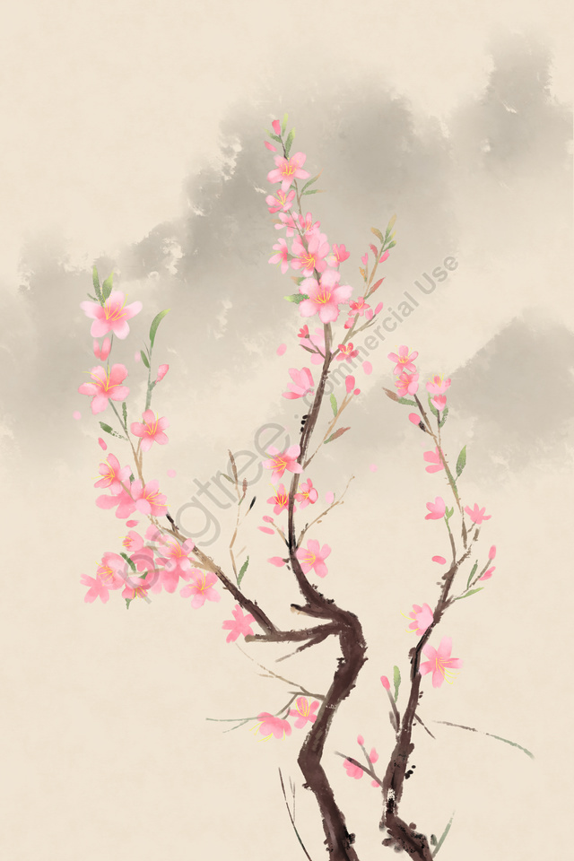 ancient flower painting chinese style antiquity classical, Peach Blossom, Flower, Plant llustration image