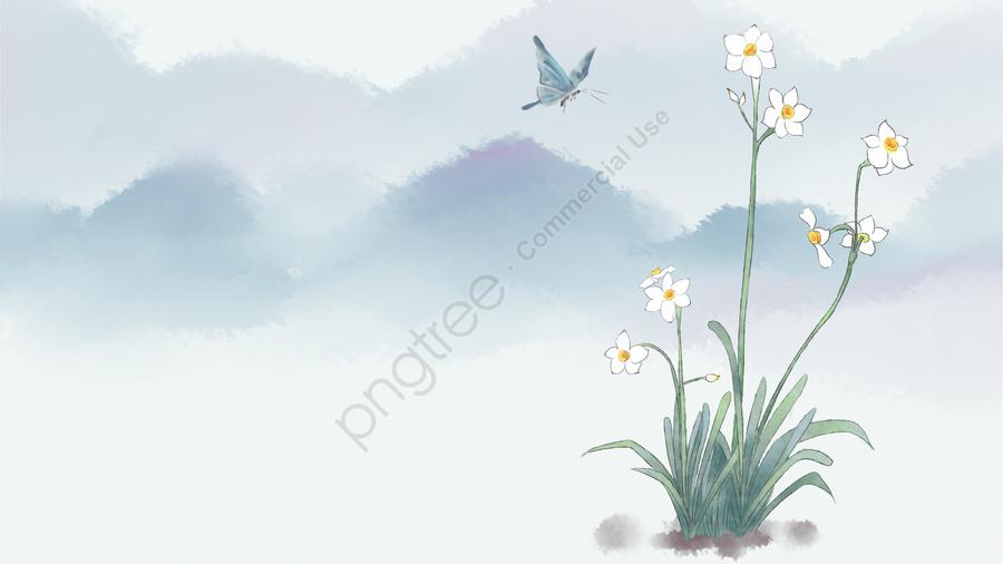 古代の花絵水仙植物インク, 芸術的概念, 山, 古代 llustration image