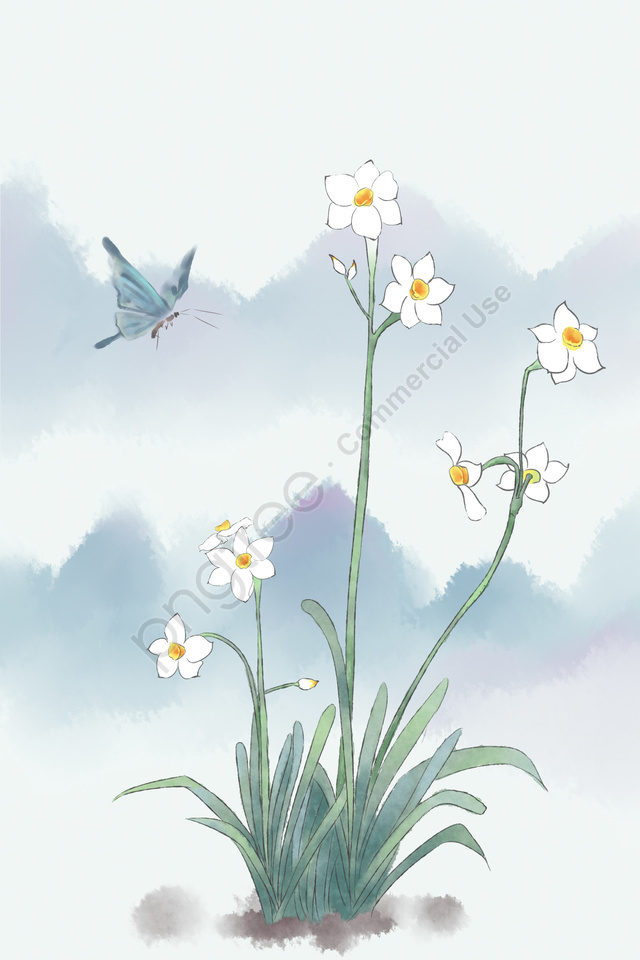 ancient flower painting daffodil plant ink, Artistic Conception, Mountain, Antiquity llustration image