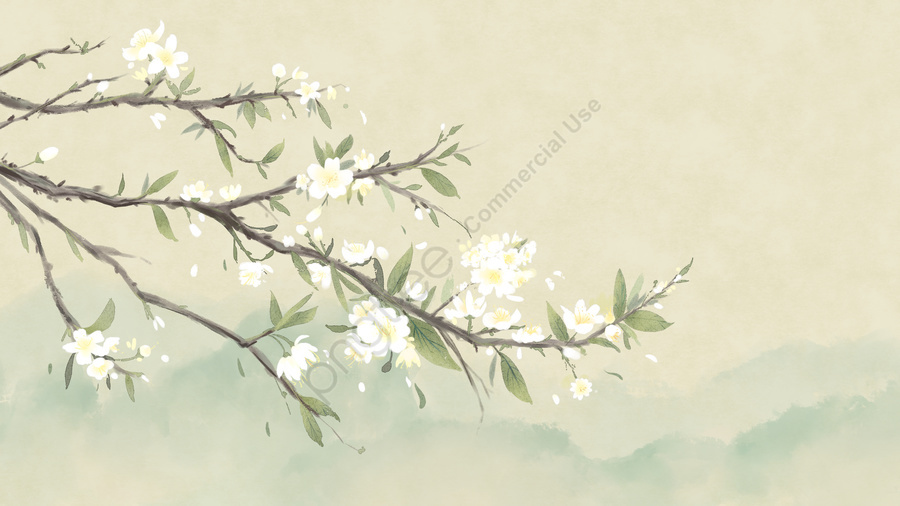 古代の花絵画花の絵画古代中国風, フラワー, 李華, 植物 llustration image