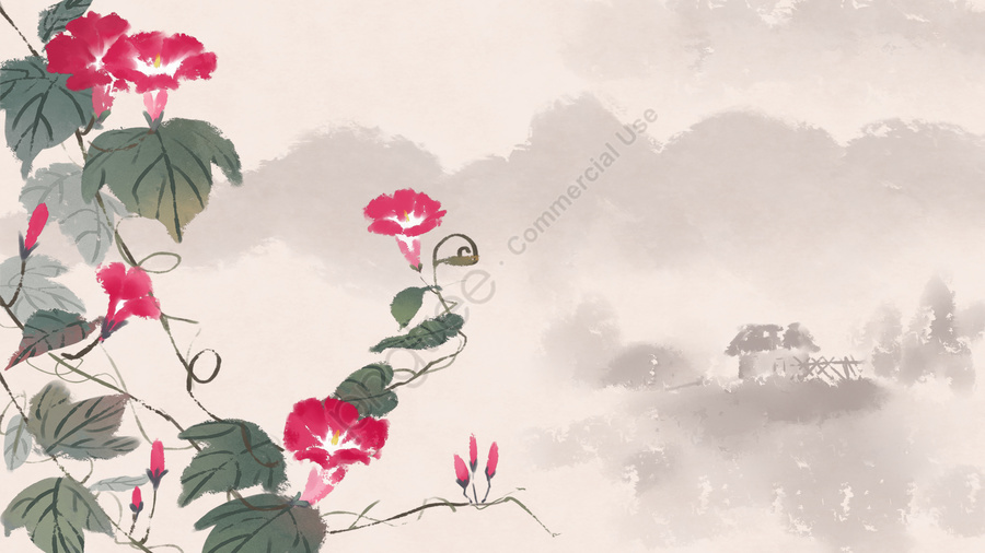 ancient flower painting ink antiquity chinese style, Flower, Plant, Classical llustration image