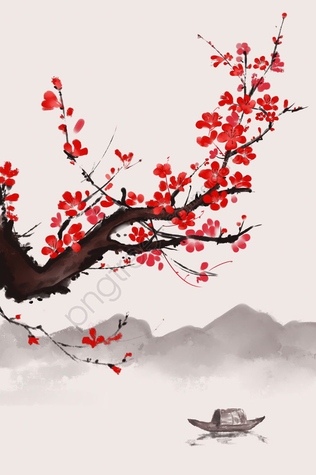 ancient flower painting ink wind chinese style antiquity, Plum Blossom, Plant, Flower llustration image