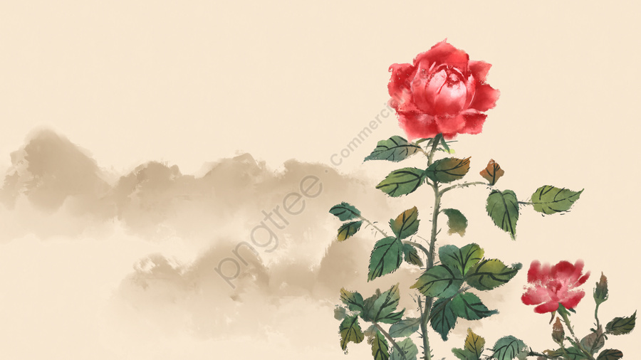 ancient flower painting rose flowers rose plant, Flower, Antiquity, Chinese Style llustration image