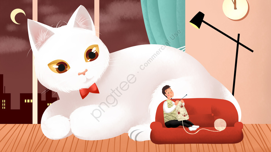 पशु बिल्ली पालतू पशु, बिल्ली, हाथ चित्रित, सुंदर llustration image
