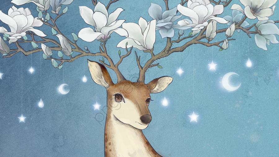 Veado Animal Sika Cervos Magnólia, Desenhado, Ilustração, Animal llustration image