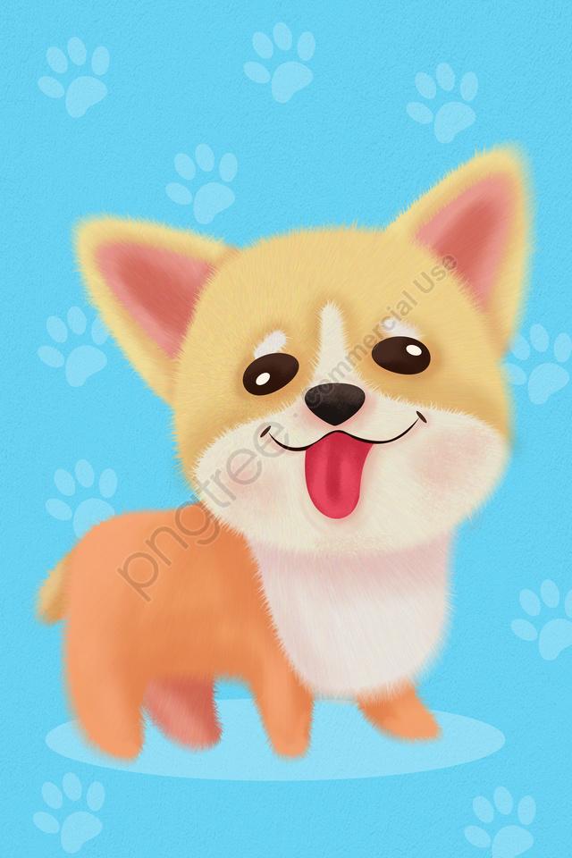 животное ручная роспись иллюстрации собака, симпатичный щенок, синий, собака llustration image