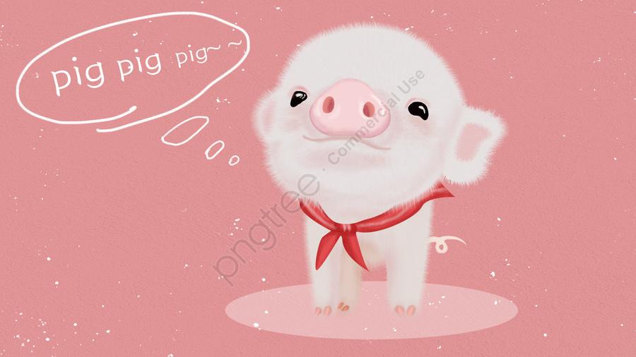 Tema Animal Mão Porco Porco Bonito Desenhado, Cor   De   Rosa, Bom Porco, Cabelo Branco llustration image