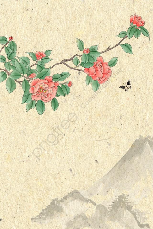 古代インク淡色伝統的な中国絵画, フラワーズ, 植物, ツバキ llustration image