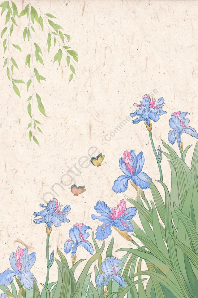 Illustration De Couleur Pastel Couleur Iris Ancien Style Encre Style
