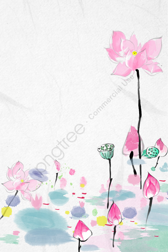 Antiquity Ink Traditional Chinese Painting Lotus, Freehand, Light Color, Fresh llustration image