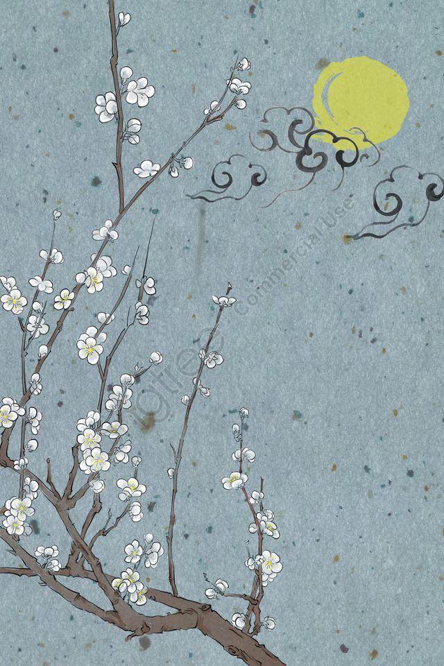 古代の伝統的な中国絵画のインク淡い色, ラミ, 梅梅, ムーンナイト llustration image