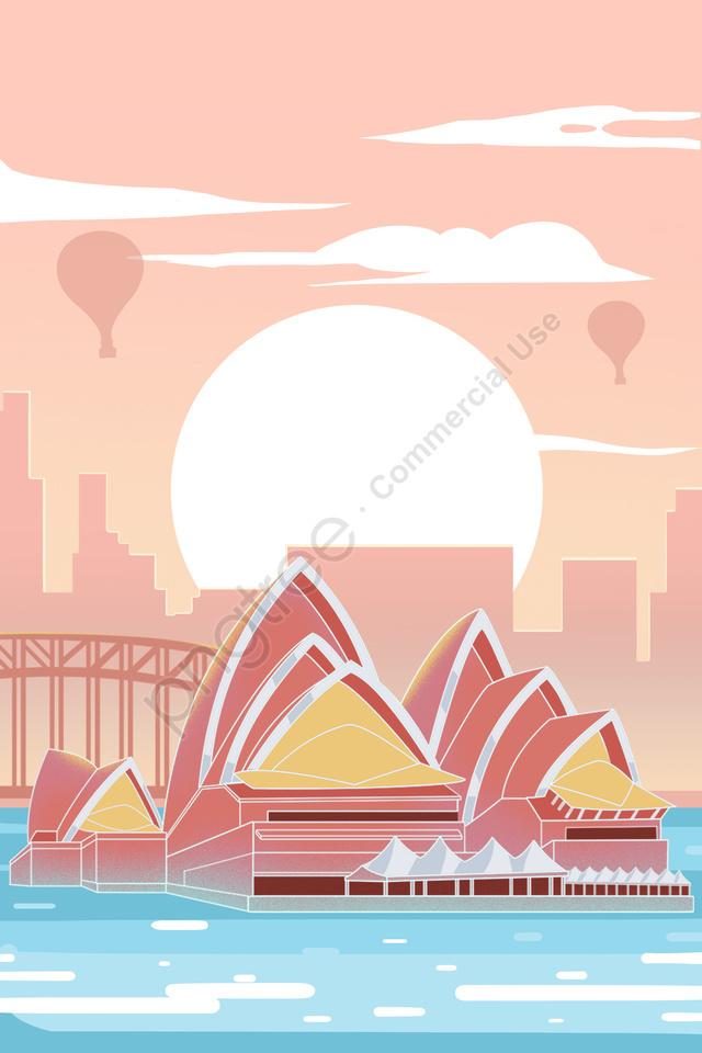 Australia Sydney Theater Sunset, Pink, Building, Australia llustration image