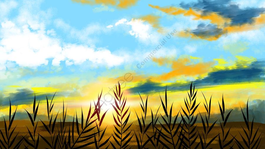 शरद ऋतु सूर्यास्त सूर्यास्त, नीले आकाश और सफेद बादलों, प्राकृतिक, परिदृश्य llustration image