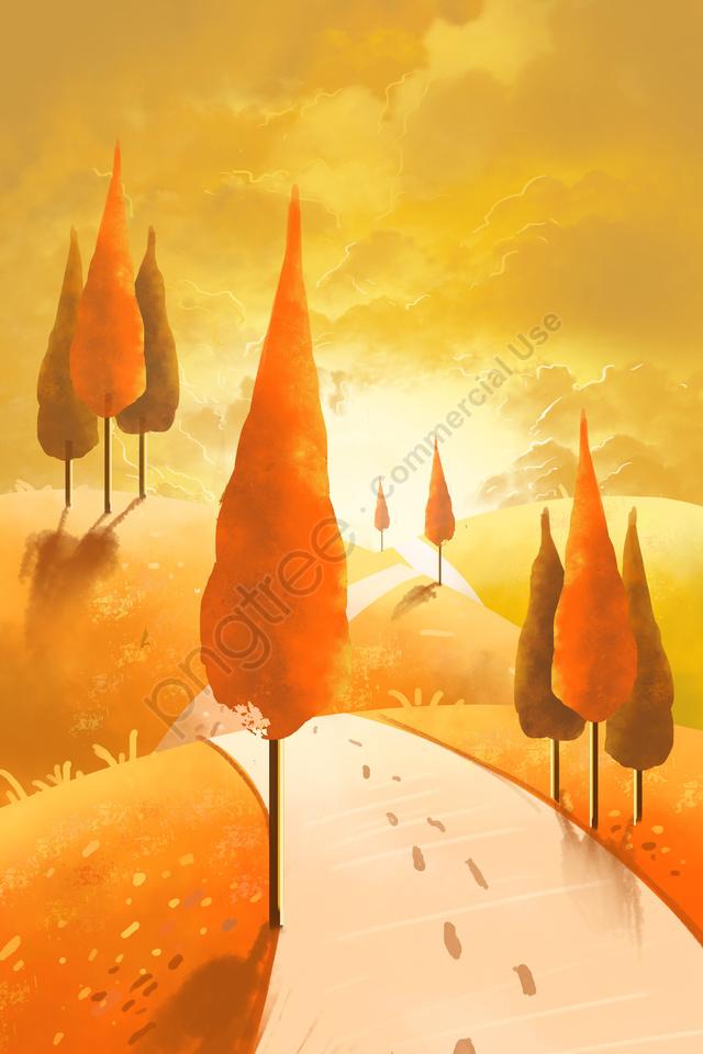 秋祭り休日シーズン日没グローツリーウォーキング, グロー, 秋祭りホリデーシーズン, 夕焼け llustration image