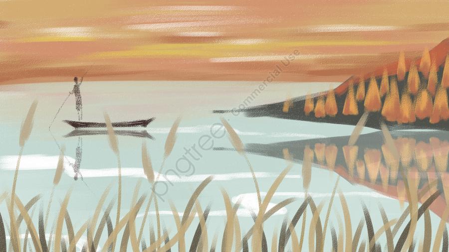 가을 풍경 가을 리드가 따뜻한 음색의 시작, 침묵, 예술 구상, 자유형 llustration image