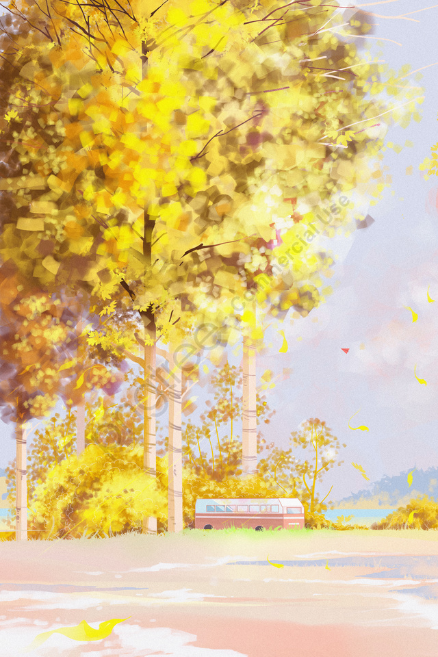 秋天風景秋天風景秋天天, 秋天, 初秋, 黃柳丁 llustration image