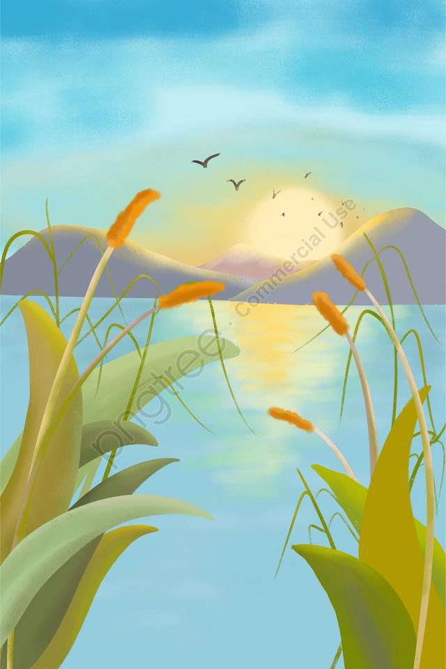 秋の小麦の穂24ソーラー用語ソーラーイラストレーター, 手書きイラスト, 中国伝統語, イラスト llustration image