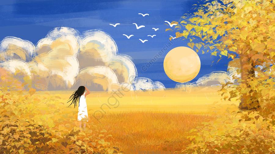 Outono Outonal Outono Outono Dourado, Céu Azul, Nuvens Brancas, A Luz Do Sol llustration image