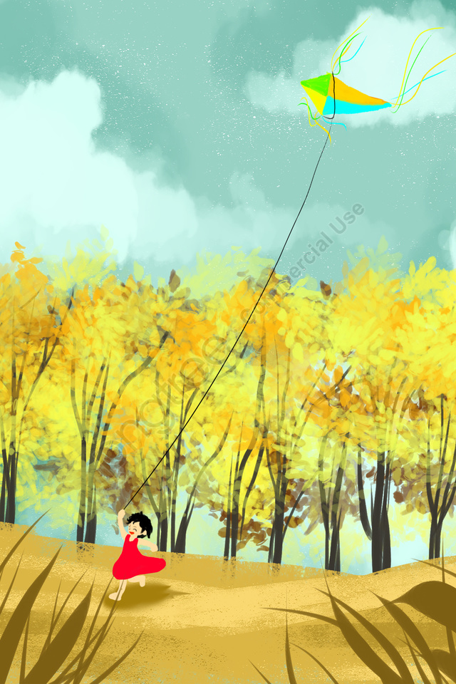 autumnal fall autumn twenty-four solar terms, Chinese Festival, Traditional Festival, Girl llustration image