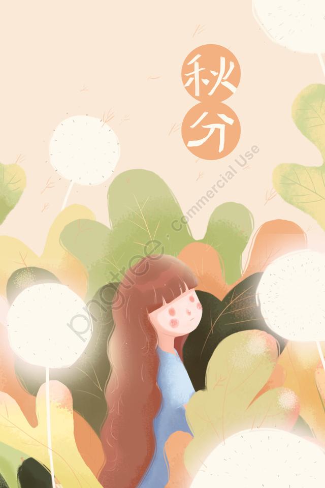 秋の秋の女の子タンポポ, 植物, グリーン, オレンジ llustration image