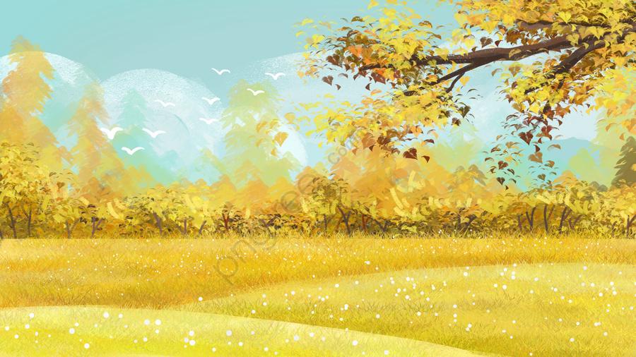 осень осень золотая осень цвет осени, осенью пейзаж, материал, голубое небо llustration image