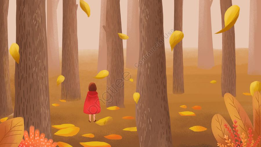 autumnal fallen leaves forest fall, Autumnal, Fallen Leaves, Forest llustration image
