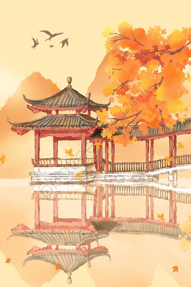 autumnal solar terms twenty-four solar terms fall, Maple, Maple Leaf, Antiquity llustration image