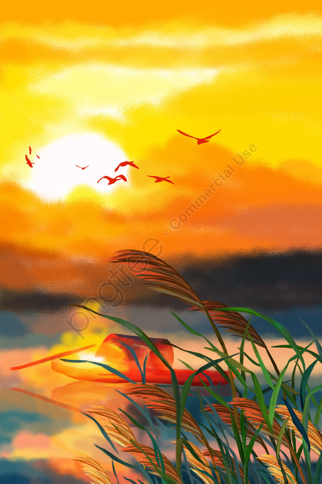 autumnal sunset glow in the sky sunset glow dusk, Beautiful, Wheat, Yellow llustration image