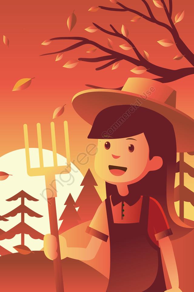 紅葉サンセットバレーフィールドガール, 秋, 太陽, 秋の llustration image