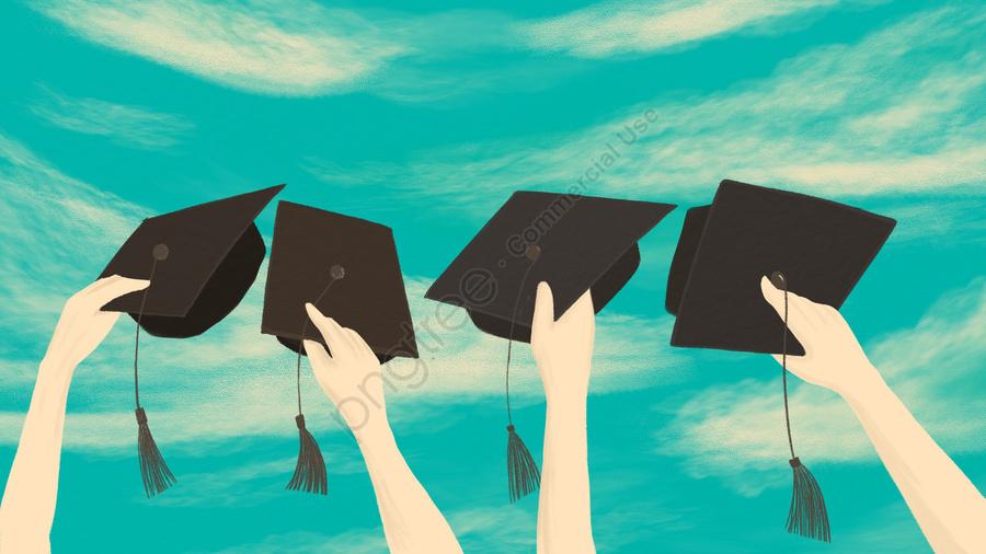Topi Bujang Tangan Hitam Dalam Topi Sarjana, Tangan Dicat, Musim Tamat Pengajian, Kita Lulus llustration image