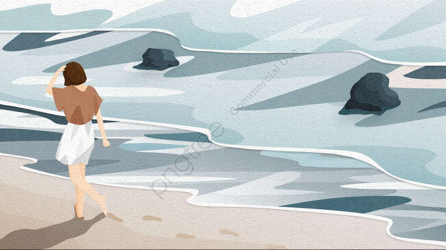 बैक व्यू स्काई और लैंडस्केप फुटप्रिंट बीच गर्ल, छोटे बाल, सफेद स्कर्ट, लहर llustration image