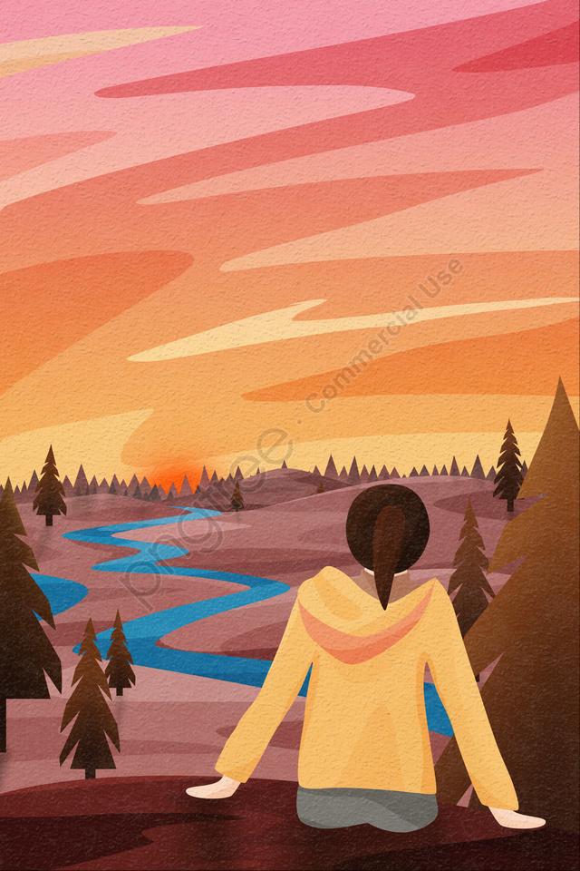 背面図の空と風景の女の子背面図の夕日と夕日, ファーマウンテン, 木, 松 llustration image