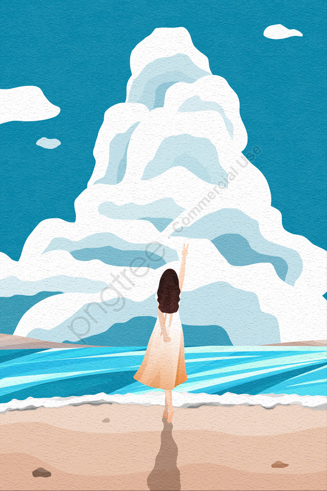 back view sky and landscape girl long skirt back view, Beach, Wave, Spray llustration image