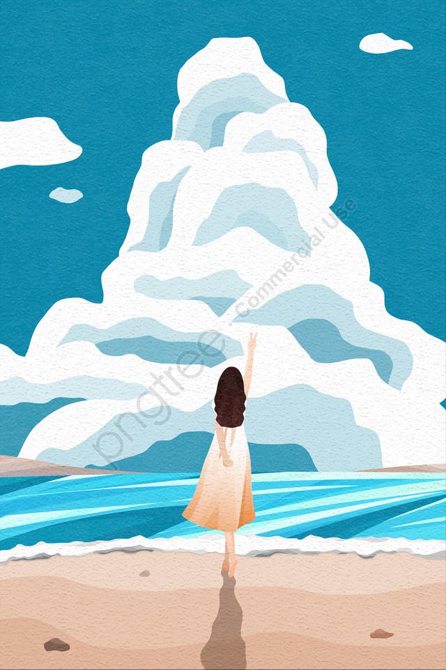 बैक व्यू आसमान और लैंडस्केप गर्ल लॉन्ग स्कर्ट बैक व्यू, समुद्र तट, लहर, स्प्रे llustration image
