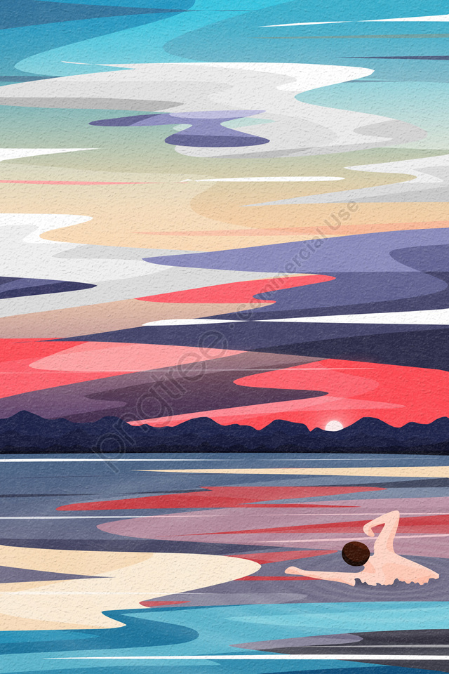 Back View Sky And Landscape Swim Swimmer Paddling, River Surface, Water Surface, River llustration image