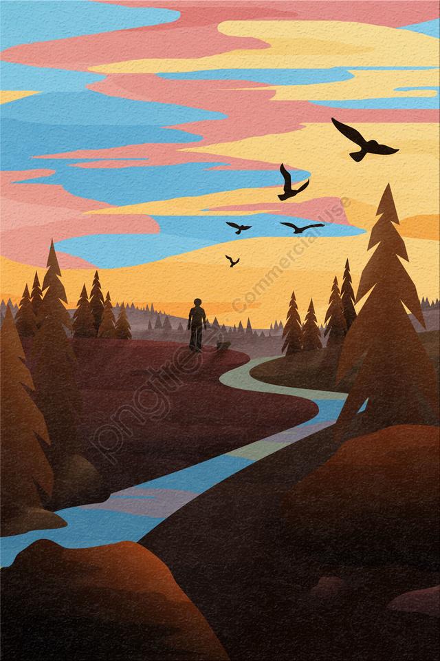 背面図空と風景夕焼け山を歩く, 川, ガイヤン, 木 llustration image