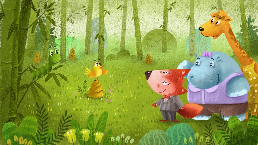 Bambu Floresta Animal Verde Fresco, Pintado A Mão, Ilustração, Material De Fundo llustration image