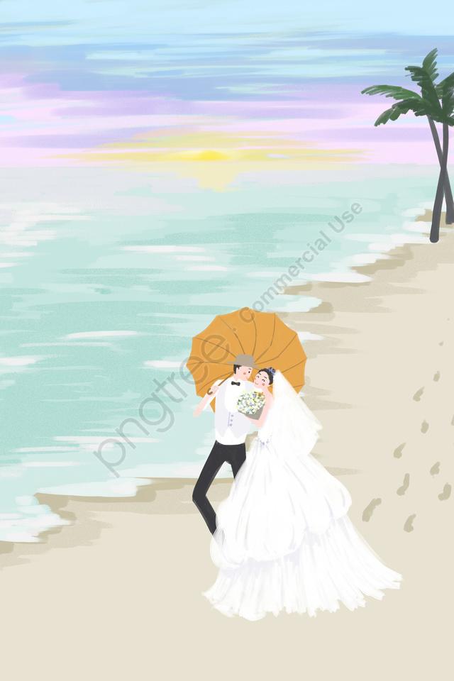 समुद्र तट समुद्र तटीय आकाश पृष्ठभूमि, शादी, दूल्हा, दुल्हन llustration image