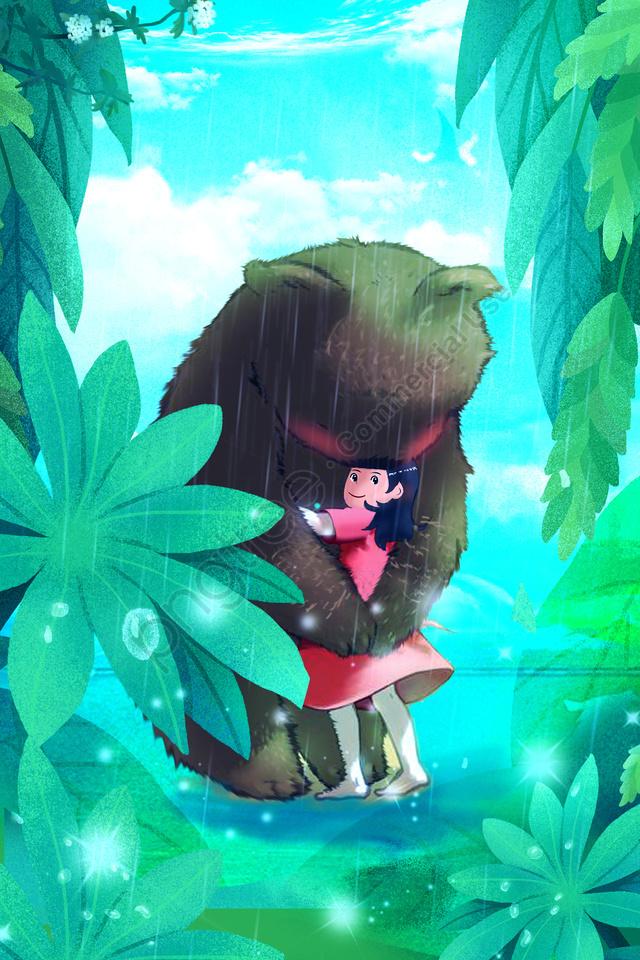 bear girl leaves forest, Rainwater, Dew, Illustration llustration image