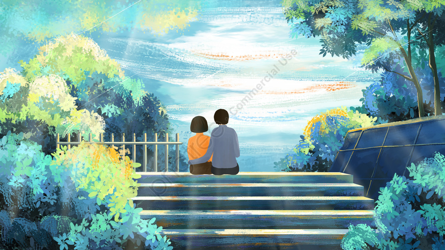 beautiful beautiful hand painted healing beautiful illustration, Campus Style, Campus Love, Love llustration image