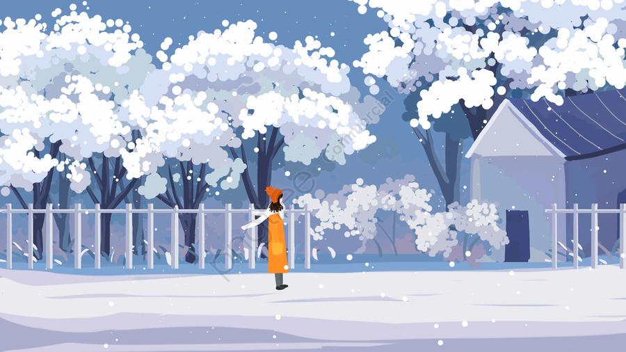 아름 다운 아름 다운 그림 손으로 그린 겨울, 한겨울, 눈이, 눈이 llustration image