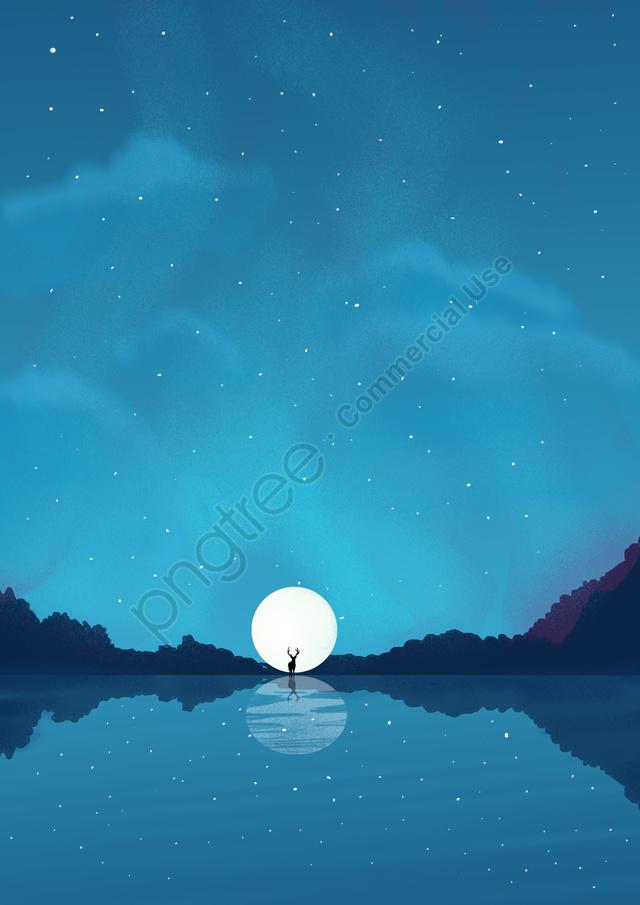 beautiful fresh elk myth, Dreamland, Night, Galaxy llustration image