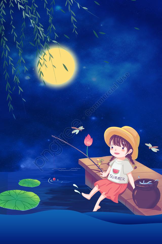 جميلة مرسومة باليد منتصف الصيف يلة فتاة صغيرة الصيد ليلا, خلفية الليل, القمر, فرع llustration image