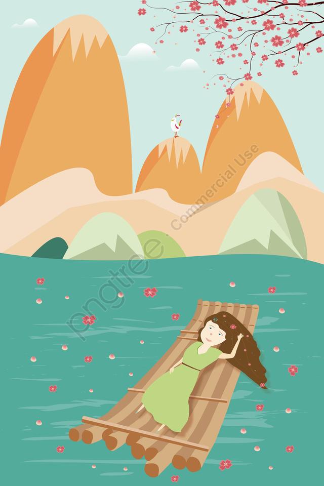 美しいマウンテンマーチ桃の花, 花弁, 竹の棒の上に横たわる少女, ロマンチック llustration image