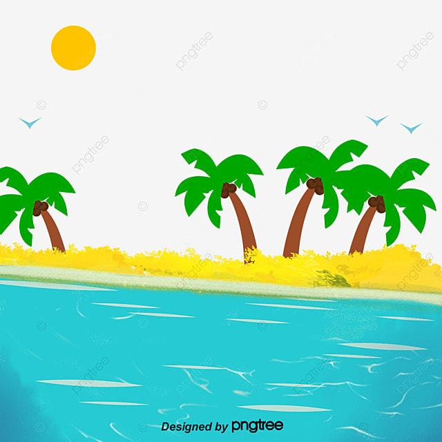 아름다운 바다 치유 해변, 일몰, 코일 페인팅, 일몰 광선 llustration image