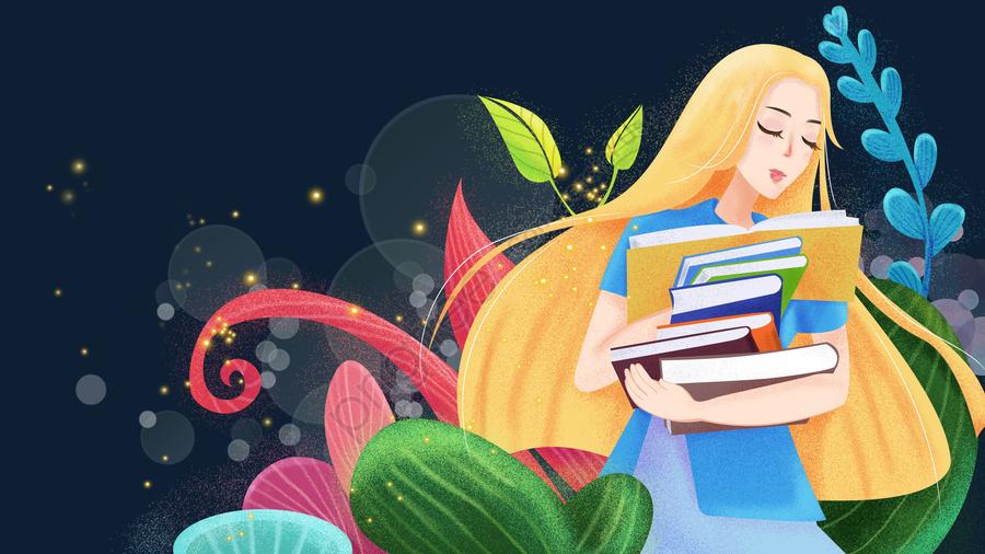 美しいロマンチックな10代の少女, ガール, 植物, 植物園 llustration image